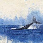 Aquarelle représentant une baleine plongeant dans l'océan