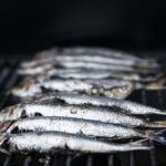 Photographie de sardines disposées sur une grille de barbecue.