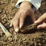 Photographie d'un archéologue fouillant le sol.